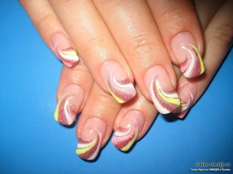 нарощенные ногти френч с рисунком фото 2015