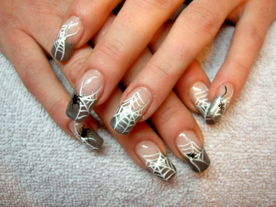 Дизайн для ногтей паутинка фото