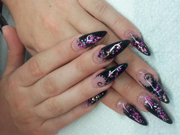 Дизайн ногтей с блестками фото фиолетовый