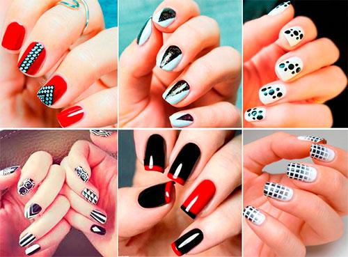 Сочетание красного цвета лака для ногтей с другими цветами фото