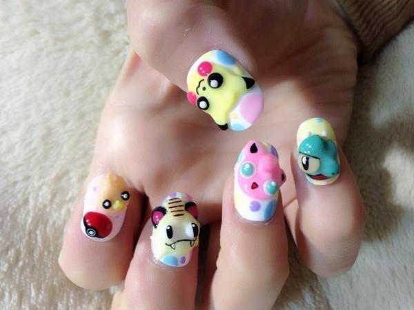 Дизайн покемонов на ногтях (маникюр с покемонами)
