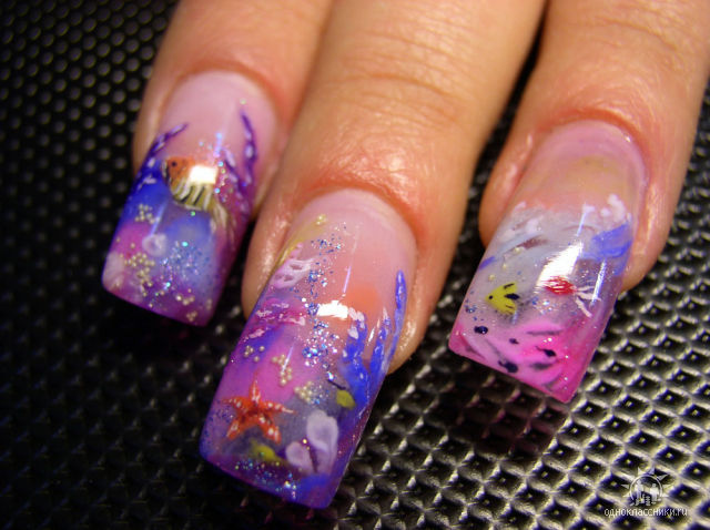 Фото дизайн аквариума ногтей